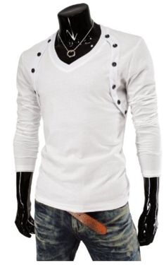 TheLees (VT06) Mens Casual Long Sleeve Button Point V-neck Tshirts #TheLees #Mens