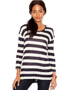 Maison Jules Three-Quarter-Sleeve Tie-Back Striped Tunic - Tops - Women - Macy's