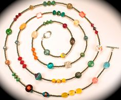 For summer - Long beaded necklace w/turquoise, sterling, Czech crystals...
