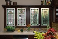 Craftsman Kitchen with Scottish stained glass windows, Ann Sacks Stoneware Elements Rectangle Field