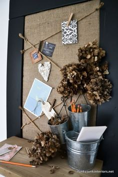 #1. Easy board and cork message board / Get organized with these creative upcycled bulletin board ideas! By Funky Junk Interiors for ebay.com