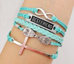 Infinity Best Friend Owls and Cross Charm by TheGiftoftheMagi, $7.99