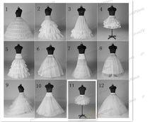12 Style White A Line/Hoop/Hoopless/Short Crinoline Petticoat/Underskirt wedding