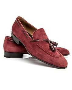 Di Bianco Bordeaux Tasseled Loafer Suede leather upper Tonal top stitching Leather tassel accent at vamp Slip-on style Rounded toe Leather lining, sole, and insole Cushioned footbed Blake construction Color: bordeaux Made in Italy