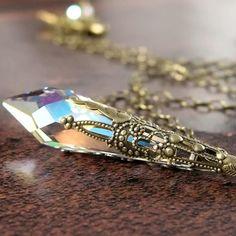 Clear Crystal Necklace Ice Clear AB Swarovski by DorotaJewelry, $36.00