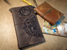 Pyrography(leather burning) on leather notebook cover. Midori traveler's notebook original brown customize - snowdeer