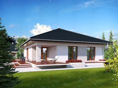 DOM.PL™ - Projekt domu MT Ariel 2 CE - DOM MS2-19 - gotowy koszt budowy One Level House Plans, Small House Plans, Village House Design, Village Houses, Prefab Homes, Cabin Homes, Future House, My House, Dream Beach Houses