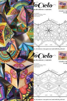 Passo 1➤ Colora   Passo 2➤ Ritaglia   Passo 3➤ Piega   Passo 4➤ Incolla Cosa ricevo? Un foglio A4 da 250g con motivo da colorare e costruire, accompagnato con dettagliate istruzioni a colori fotografate passo a passo.  I disegni dei miei Caleidocicli sono basati sui mandala, che stimolano sensazioni di calma e serenità mentre si colorano. Ho creato 6 modelli diversi di caleidocicli. Provali tutti! Flextangle Template, Templates, Math Art, Mandala Drawing, Paper Toys, Tangled, Fun Activities, Homeschooling, Free Printables