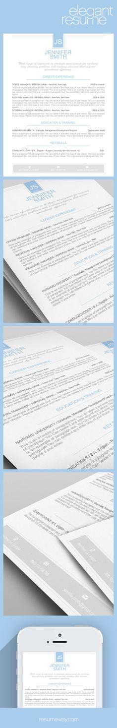 Elegant Resume Template 110430 - Premium line of Resume & Cover Letter Templates. Easy edit with MS Word, Apple Pages - #Resume, #Resumes, #ElegantResume, #ElegantResumes, #DesignResume, #Career, #Job, #Jobs, #ResumeWay