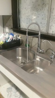 Sinks Done! Undermount Stainless Steel Sink. Grey Stained Butcher Block  Countertops