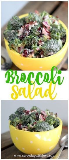 Broccoli Salad recipe from Served Up With Love is a sweet and smoky side dish loaded with broccoli, Craisins, and bacon. Because everything is better with bacon. #easy #recipes #broccoli