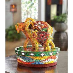 Joyful Elephant Fountain $39.95 https://www.facebook.com/Twogirlsdecor/posts/792370884212393 #homedecor #twogirlsdecor #safari #elephants #fountain #animal #decor #tabletop