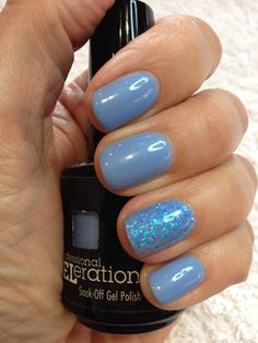 Beautiful blue nails. Jessica GELeration gel in True Blue with the addition of Pale Topaz glitter on the accent nail