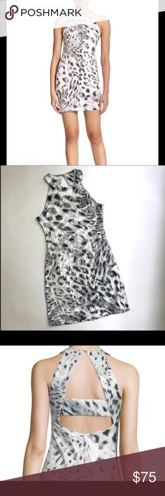"""Parker Hayes animal print sequin dress Beautiful Parker Hayes animal print sequin, size medium and in perfect condition. Measurements are length 29"""" from neckline, 16"""" chest and 14"""" waist. Material is 95% polyester and 5% spandex. Beautiful dress in person, only wore it once but received some many compliments but have too many dress 😊. From a smoke free house and normally ships within 24 hours. Parker Dresses Mini"""