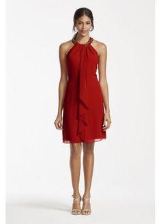 Beaded Halter Short Chiffon Draped Dress 111105DB