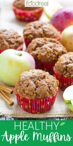 These Healthy Apple Muffins combine whole wheat flour (or spelt flour), apples, applesauce, and warm fall spices – topped off with a crunchy cinnamon-sugar topping for a perfectly fluffy, moist seasonal breakfast or snack muffin. Healthy Muffin Recipes, Healthy Muffins, Healthy Breakfast Recipes, Healthy Baking, Clean Eating Recipes, Healthy Desserts, Real Food Recipes, Baking Recipes, Food Website