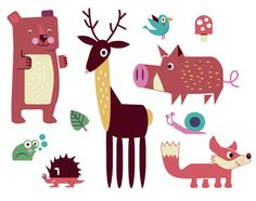 Cute forest animals illustration by Jamie Oliver Aspinall  http://www.schnuppe.ch/