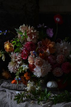 Dahlias, roses, freesia,cosmos