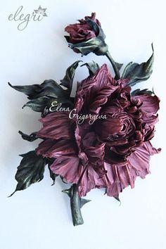 роза из кожи, мк от elegri