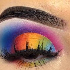 eye makeup rainbow step by step ; eye makeup rainbow make up ; Rainbow Eye Makeup, Bright Eye Makeup, Makeup Eye Looks, Eye Makeup Steps, Eye Makeup Art, Colorful Eye Makeup, Dramatic Makeup, Crazy Makeup, Makeup Eyeshadow