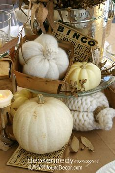 Fall Vignette with White Pumpkins