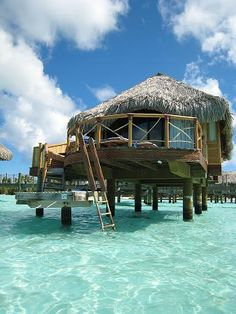 I have always wanted to go to Bora Bora and stay in one of these bungalows over the water. I've seen so many of these pictures. Would be so neat! Vacation Places, Vacation Destinations, Dream Vacations, Vacation Spots, Places To Travel, Romantic Vacations, Romantic Travel, Holiday Destinations, Vacation Ideas