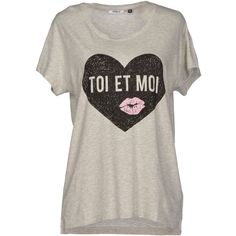 Only T-shirt ($24) ❤ liked on Polyvore featuring tops, t-shirts, light grey, print t shirts, short sleeve tops, short sleeve tee, print tees y print top