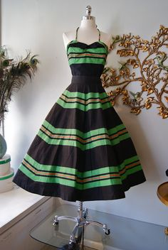 Late 40's cotton piece bustier top and full circle skirt.
