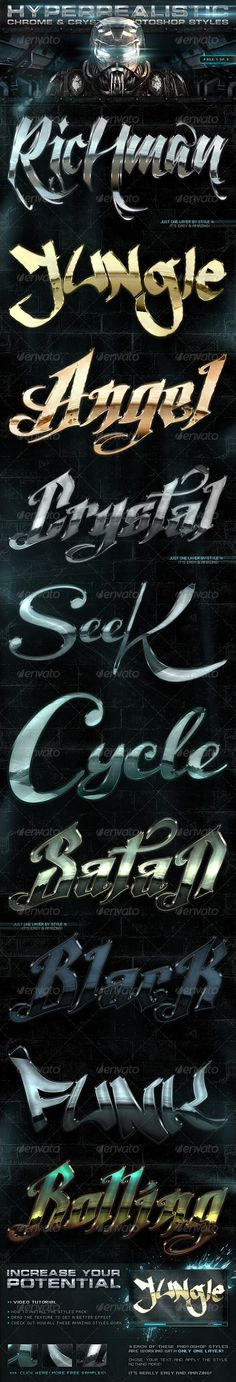 Chrome & Crystal Photoshop Styles 1of3 - GraphicRiver Item for Sale