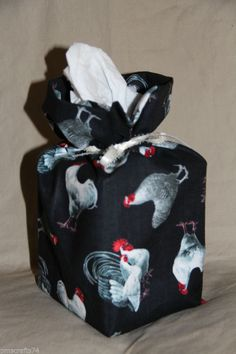 Roosters Chickens fabric tissue box cover fabric gift bag toilet paper cover