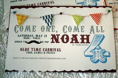 Vintage carnival invitation for a little boy's birthday party. precious