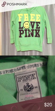 "Victoria's Secret PINK Hoodie Size Small Super soft PINK hoodie in lime green. Says ""Free Love PINK"" across chest. Size Small. 60% Cotton, 40% Polyester PINK Victoria's Secret Tops Sweatshirts & Hoodies"