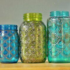 Mason Jar Lantern Morrocan Style Gunmetal Detailing on by LITdecor,