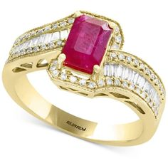 Amore by Effy Certified Ruby (1 ct. t.w.) & Diamond (1/2 ct. t.w.)... (22.325 DKK) ❤ liked on Polyvore featuring jewelry, rings, ruby, yellow gold ruby ring, gold ring, baguette diamond ring, 14 karat diamond ring and emerald cut ruby ring
