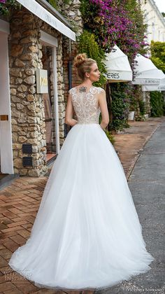 victoria soprano 2017 bridal sleeveless square neck heavily embellished bodice gold top tulle skirt romantic glamorous a  line wedding dress with pockets covered lace back sweep train (12) bv -- Victoria Soprano 2017 Wedding Dresses
