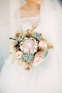 rustic protea succulent wedding bouquet