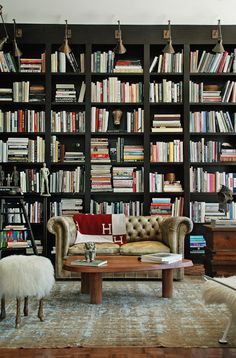 Library, bookshelves, books, classic leather sofa, surrealist pouf - Tommy Clements via Architectural Digest. (via Canoe Design) Library Room, Dream Library, Cozy Library, Library Ideas, Music Library, Home Design, Interior Design, Design Ideas, Regal Design