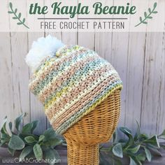 This textured crochet beanie pattern uses the lemon peel stitch to create a simple and attractive piece. It is a quick and easy pattern! Crochet Adult Hat, Easy Crochet Hat, Crochet Beanie Pattern, Crochet Buttons, Crochet Scarves, Crochet Crafts, Double Crochet, Single Crochet, Crochet Projects