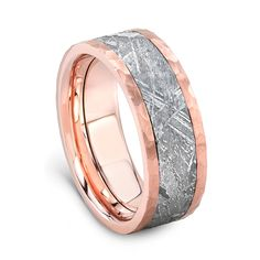 14K Rose Gold Meteorite Wedding Band by Lashbrook Designs at Yatesjewelers.com
