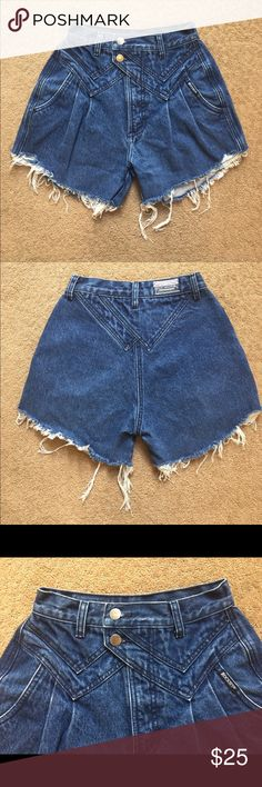 80's Vintage High Waisted Denim Cut Off Shorts Vintage Rocky Mountain Clothing Company high waisted cut off shorts Rocky Mountain Clothing Company Shorts Jean Shorts