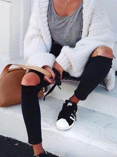 grey + white + black #nordstrom #adidas