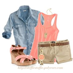 Coral, Chambray & Khaki, created by steffiestaffie on Polyvore