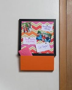 This corkboard and cuby combination is super easy to create and adds both style and functionality to the outside of any bedroom door! Click the link for instructions.