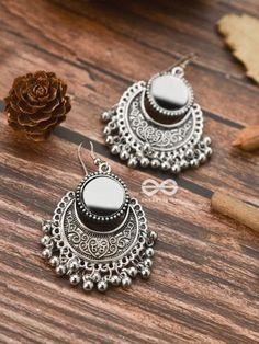 The Mirror Motifs- Oxidised Boho Earrings Indian Bridal Jewelry Sets, Indian Jewelry Earrings, Silver Jewellery Indian, Jewelry Design Earrings, Gold Earrings Designs, Ear Jewelry, Boho Earrings, Latest Earrings Design, Silver Jewelry
