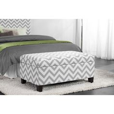 Kinsley Chevron Storage Ottoman, Gray an