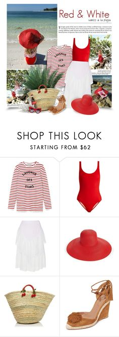 """Red & White"" by thewondersoffashion ❤ liked on Polyvore featuring Être Cécile, Solid & Striped, Wes Gordon, Eric Javits, Caterina Bertini, Aquazzura and Dolce&Gabbana"