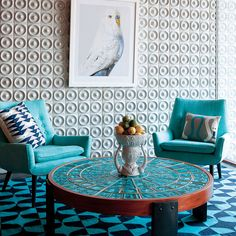 Jonathan Adler Mrs Godfrey Chair in Cashin Ocean @Zinc_Door #zincdoor #jonathanadler #modern #sidechair