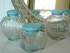 Upscaled Coastal Cottage Wooden Top Glass Storage Jars