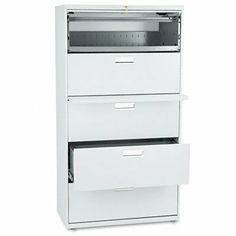 """Light Gray HON 600 Series 36"""" 5 Drawer Lateral Metal Filing File Cabinet by Hon. $758.45. Product Features:  Five drawer lateral filing cabinet with a posting shelf and locking drawersTop drawer is a rollout shelf  Accommodates both legal and letter-size filesMechanical interlock allows only single drawer to open at a time  Anodized aluminum recessed drawer pull and plastic label holder  Equipped with HON interchangeable core removable locks  Covered by HON Limited Lifetime War..."""