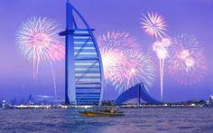 Download wallpapers Burj Al Arab, 4k, fireworks, skyscrapers, UAE, Dubai